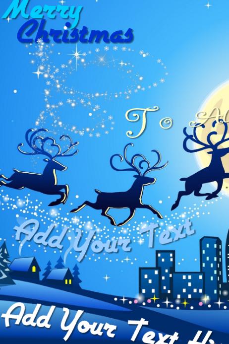 Christmas Holiday Party Invite Card Eve Bash Reindeer Sleigh Santa Night Decor Retail Poster