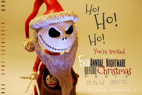 Nightmare Before Christmas Holiday Party Invite Card Jack Santa Halloween Eve Bash Poster