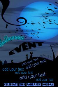 Halloween Black Cat Bats Graveyard Zombie Event Flyer