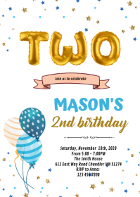 2nd birthday card invitation