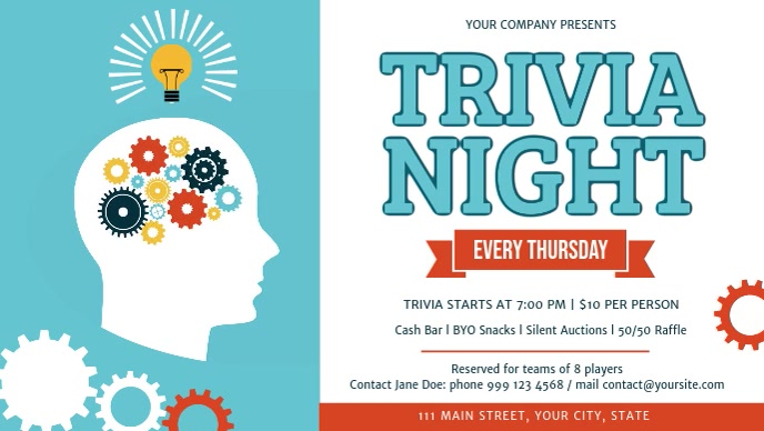 Trivia Night Event Facebook Cover Video Facebook-omslagvideo (16:9) template