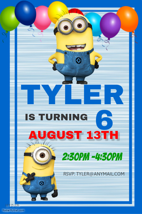 Minions Birthday Party Invitation Template Customize