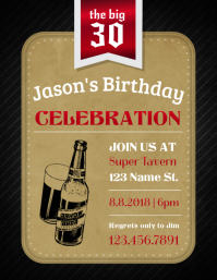 30th Birthday Celebration Invitation Flyer Template