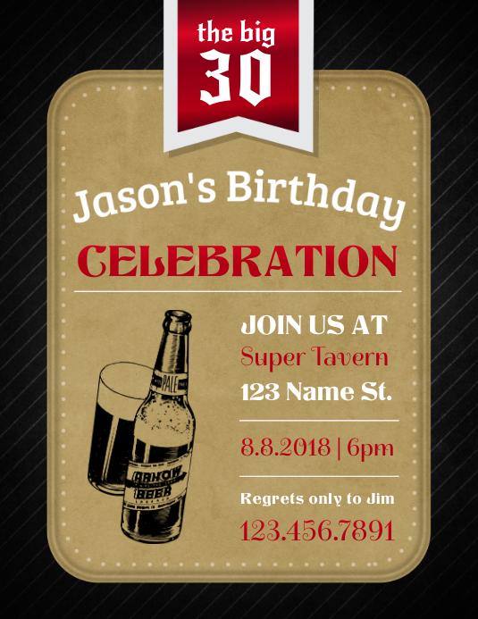 30th Birthday Celebration Invitation Flyer Template