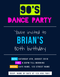 30th Birthday Dance Party Invitation Flyer Template