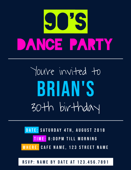 30e Anniversaire Dance Party Invitation Flyer Modele Postermywall