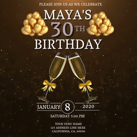 30TH Birthday Invitation Template