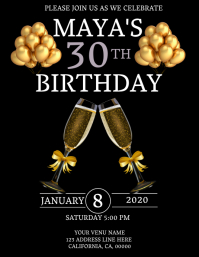 30TH Birthday Invitation Template Flyer (US-Letter)