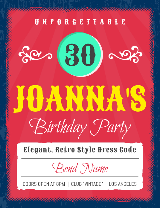 30th Birthday Party Invitation Flyer Template Pamflet (Letter AS)