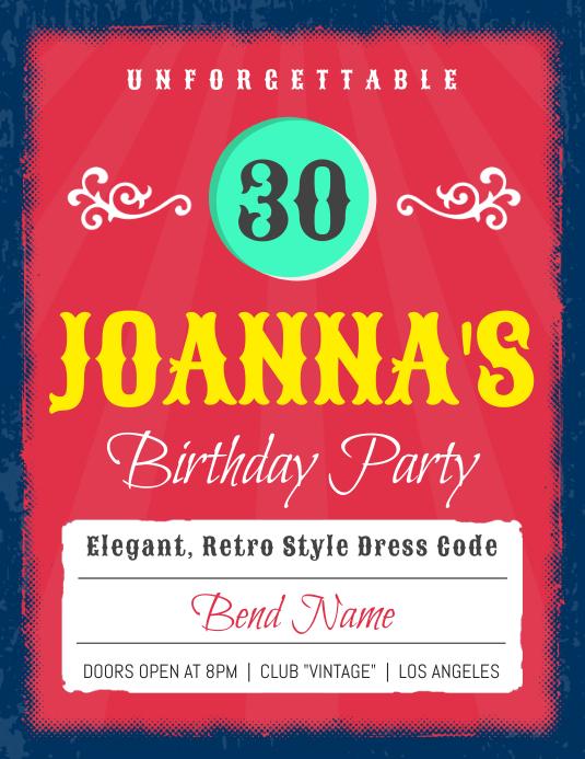 30th Birthday Party Invitation Flyer Template Folheto (US Letter)