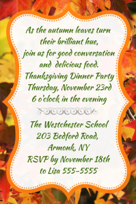Fall Leave Invitation Dinner Thanksgiving Party Flyer Poster