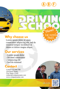 Readymade flyer for driving school, car dealer and car rental services