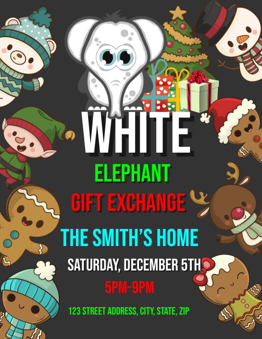White elephant gift exchange event template postermywall white elephant gift exchange event template negle Gallery