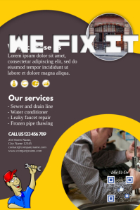 Customized flyer for any service: computer repair, locksmiths, plumbing, auto repair, electrician