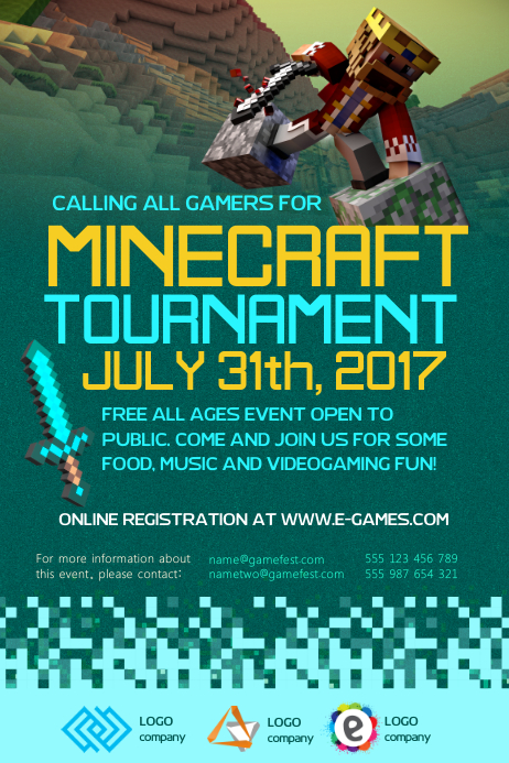 Minecraft Gaming Poster Template