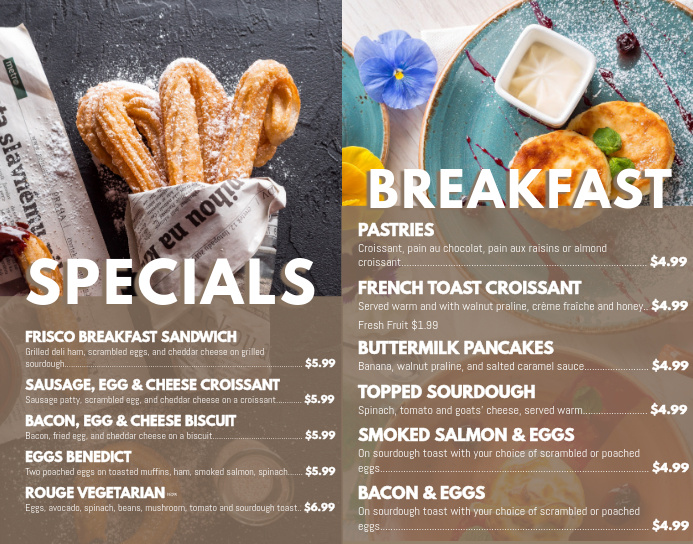 Breakfast Specials Menu Template Poster/Wallboard