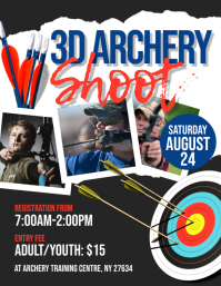 3D Archery Shoot Flyer Pamflet (Letter AS) template
