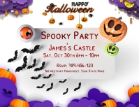 3D Halloween Party Invitation Card Flyer (Letter pang-US) template