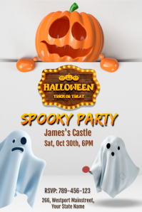 3D Halloween Party Invitation Póster template