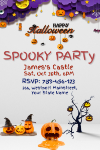 3D Halloween Party Invitation Poster template