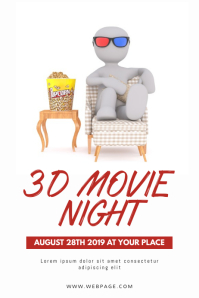 3D Movie Night Flyer Design Template