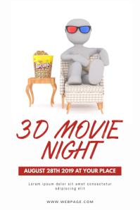 3D Movie Night Flyer Design Template Iphosta