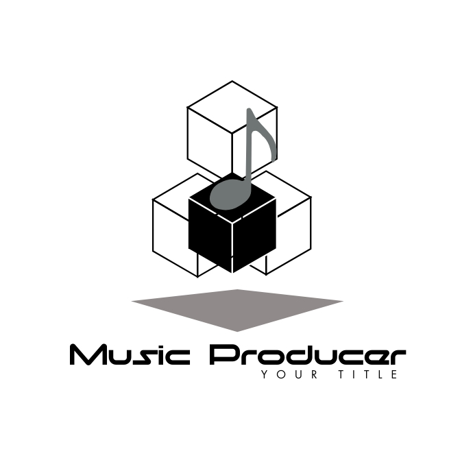 3D Musical Notes Music Producer Logo 徽标 template