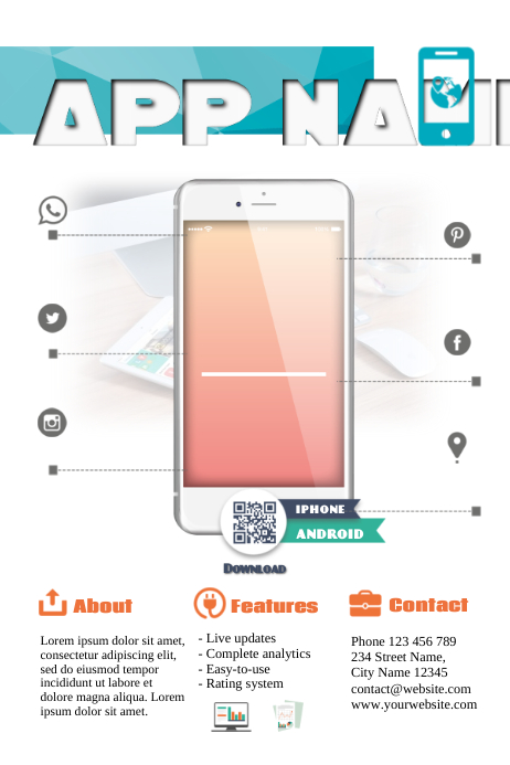 Mobile app promotion flyer template Poster