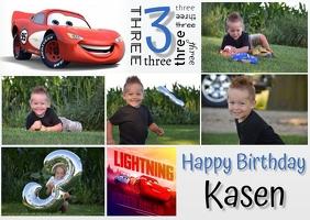 3rd Birthday-Cars Postcard template