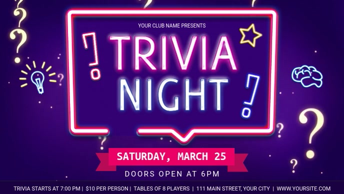 Blue Neon Themed Trivia Night Facebook Cover Video