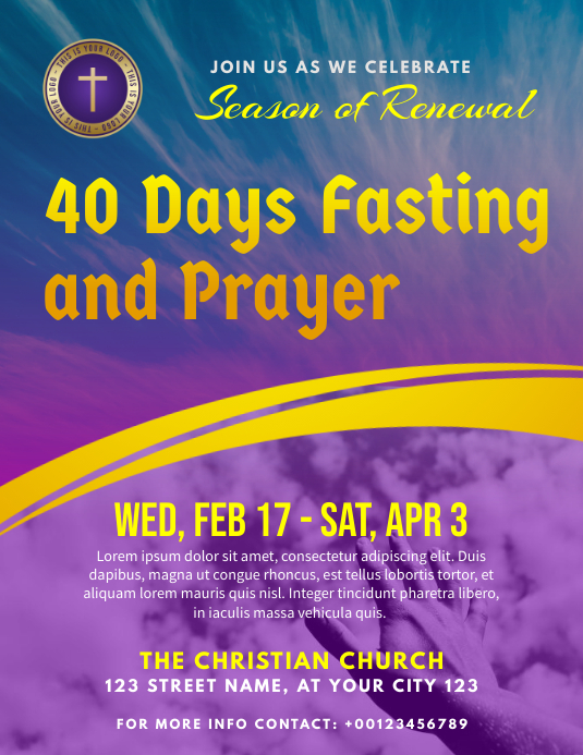 40 days fasting and prayer lent church Ulotka (US Letter) template