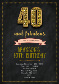 40th and Fabulous birthday party invitation