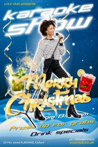 Christmas Karaoke Show Poster Affiche template