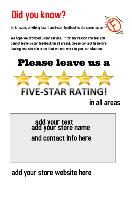 Amazon seller packaging flyer for 5 star rating request for Ebay feedback request template