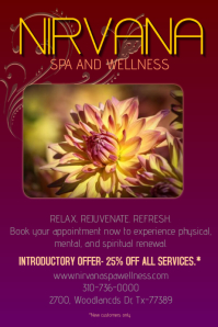 An elegant purple Flyer/Poster Template for a Spa and Wellness boutique.