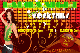 Ladies Night Drink Pin-Up Club Bar Special Lights Crowd Event Discount Happy Hour Flyer