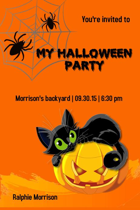 Halloween invitation card template postermywall halloween invitation card stopboris Choice Image
