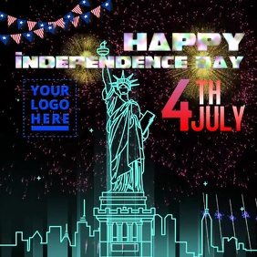 4th July Happy Independence day video Instagram 帖子 template