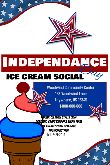4th July Ice Cream Social Template Postermywall