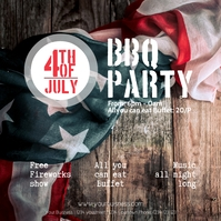 4th july instagram template bbq Party Persegi (1:1)