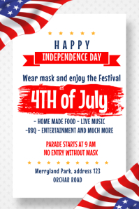 4th of july, american independence day โปสเตอร์ template