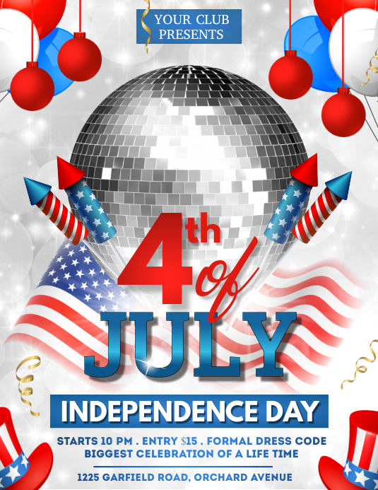 4th of July, Independence Day Flyer Pamflet (Letter AS) template