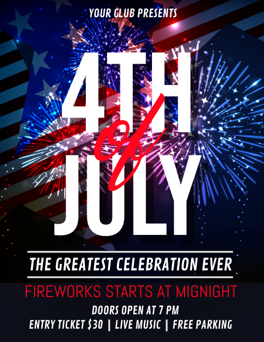 4th of July, Independence Day Flyer Ulotka (US Letter) template