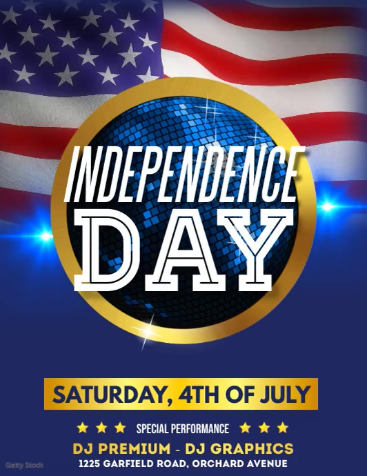 4th of July, Independence Day Video Pamflet (Letter AS) template