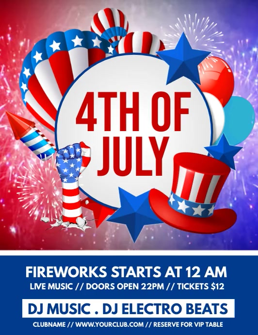 4th of July, Independence Day Video Flyer (US Letter) template
