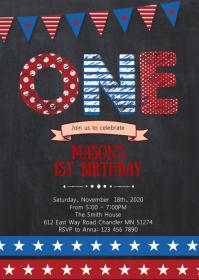 4th of July 1st birthday invitation