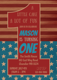 4th of July 1st birthday invitation