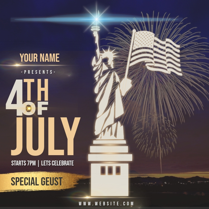4TH OF JULY AD INSTAGRAM POST Template Persegi (1:1)