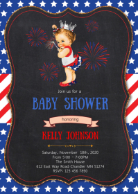 4th of July baby shower invitation