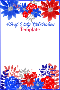 4th of July Background Template Poster